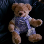 Hamley's  bear 16 inch sitting with knitted jumper and scarf etc @SOLD@